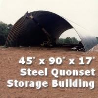 45' x 90' x 17' Steel Quonset Hay & Grain Storage Building