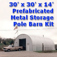 30' x 30' x 14' Prefabricated Steel Metal Storage Pole Barn Kit
