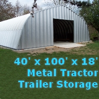 40' x 100' x 18' Metal Tractor Trailer Storage Building