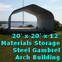 20' x 20' x 12' Steel Gamrel Arch Materials Storage Building