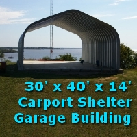 30' x 40' x 14' DIY Garage Carport Shelter Building