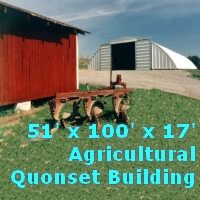 51' x 100' x 17' Metal Arch Quonset Storage Agricultural Building