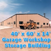 40' x 60' x 14' Metal Frame Garage Workshop Storage Building