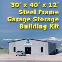 30' x 40' x 12' Steel Frame Prefab Metal Garage Storage Building