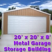 20' x 20' x 8' Steel Frame Shed Garage Building Kit