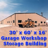 30' x 60' x 16' Steel Frame Garage Workshop Storage Building