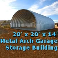 20' x 20' x 14' Prefab Metal Arch Cover Garage Storage Building