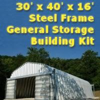 30' x 40' x 16' Steel Frame Garage General Storage Building
