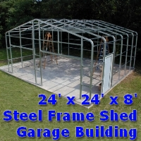 24' x 24' x 8' Steel Frame Shed Garage Building Kit