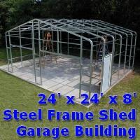 24' x 24' x 8' Steel Frame Shed Garage Building Kit