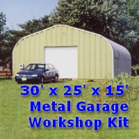 30' x 25' x 15' Steel Frame Metal Garage Workshop Building Kit