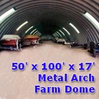 50' x 100' x 17' Metal Arch Farm Dome Building