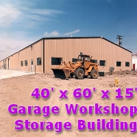 40' x 60' x 15' Steel Frame Garage Workshop Storage Storage Building