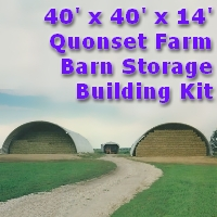 40' x 40' x 15' Steel Quonset Barn Farm Storage Building Kit