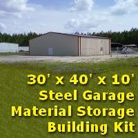 30' x 40' x 10' Steel Frame Prefab Metal Garage Barn Storage Building