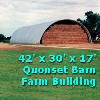 42' x 30' x 17' Steel Quonset Farm Barn Storage Building Kit