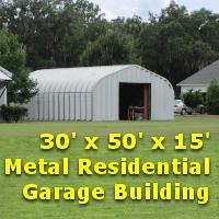 30' x 50' x 15' Steel Frame Residential Garage Storage Building