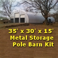 35' x 30' x 15' Steel Metal Storage Pole Barn Kit