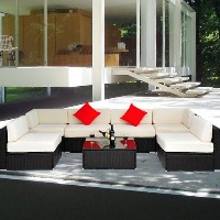 Brand New Deluxe Outdoor Rattan Garden Wicker 7-Piece Sofa Set Patio Sectional Furniture