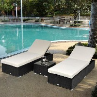 Brand New Outdoor Rattan Garden Wicker 3-Piece Set Square Table Sun Lounger Recliner Bed Chair