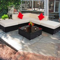 Brand New Deluxe Outdoor Rattan Garden Wicker 6-Piece Sofa Set Patio Sectional Furniture