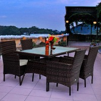 Brand New Outdoor Patio PE Rattan Wicker 5 pc Dining Set Furniture 4 Chairs With Table