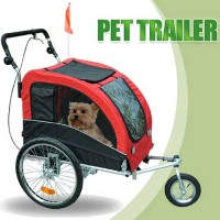 High Quality Red 2in1 Double Pet Bike Trailer and Stroller