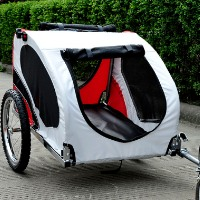 Brand New Deluxe Pet Dog Bike Trailer (White & Red & Black)