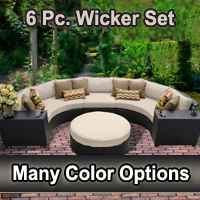 Beach 6 Piece Outdoor Wicker Patio