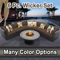 Beach 6 Piece Outdoor Wicker Patio