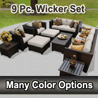 Beach 9 Piece Outdoor Wicker Patio