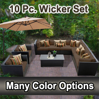 Beach 10 Piece Outdoor Wicker Patio