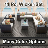 Beach 11 Piece Outdoor Wicker Patio