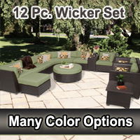 Beach 12 Piece Outdoor Wicker Patio