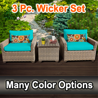Contemporary 3 Piece Outdoor Wicker Patio Furniture Set