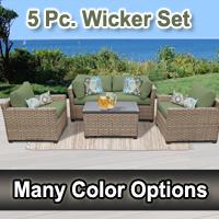 Contemporary 5 Piece Outdoor Wicker Patio Furniture Set
