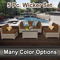 Contemporary 5 Piece Outdoor Wicker Patio Furniture Set