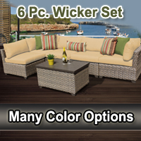 Contemporary 6 Piece Outdoor Wicker Patio Furniture Set