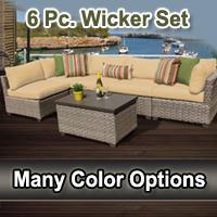 Contemporary 6 Piece Outdoor Wicker Patio Furniture Set