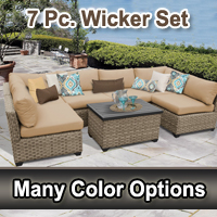 Contemporary 7 Piece Outdoor Wicker Patio Furniture Set