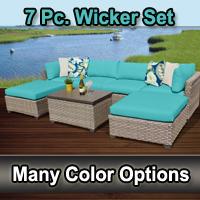 Contemporary 7 Piece Outdoor Wicker Patio Furniture Set