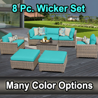 Contemporary 8 Piece Outdoor Wicker Patio Furniture Set