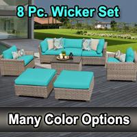 Contemporary 8 Piece Outdoor Wicker Patio Furniture Set