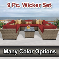 Contemporary 9 Piece Outdoor Wicker Patio Furniture Set