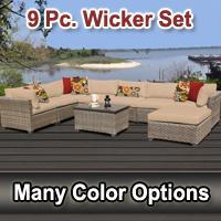 Contemporary 9 Piece Outdoor Wicker Patio Furniture Set