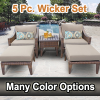 Modern 5 Piece Outdoor Wicker Patio Furniture Set