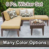Modern 6 Piece Outdoor Wicker Patio Furniture Set