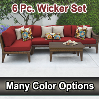 Modern 6 Piece Outdoor Wicker Patio Furniture Set