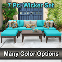 Modern 7 Piece Outdoor Wicker Patio Furniture Set