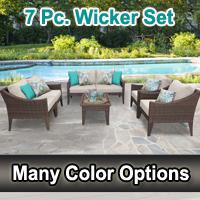Modern 7 Piece Outdoor Wicker Patio Furniture Set